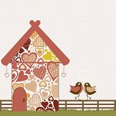 picture of bird fence  - Cute birds and stylized bird house on pink background - JPG