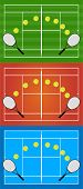 pic of deuce  - Illustration of tennis rackets and bouncing balls in different courts - JPG