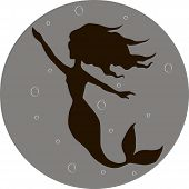 picture of undine  - Illustration of a mermaid under the water with outstretched arm - JPG