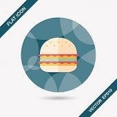 picture of sandwich  - Sandwich Flat Icon With Long Shadow - JPG