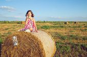 pic of hay bale  - The girl sitting on a bale of hay in the field and phones - JPG