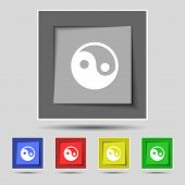 stock photo of ying yang  - Ying yang icon sign on the original five colored buttons - JPG