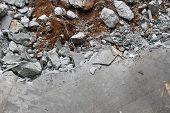 foto of slab  - Destruction from a broken concrete floor slab - JPG