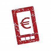 pic of tariff  - Red grunge euro phone logo on a white background - JPG