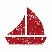 pic of brigantine  - Red grunge ship logo on a white background - JPG