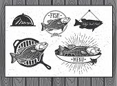 picture of trout fishing  - Seafood labels fish packaging design fishing logo elements - JPG