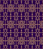image of gamma  - Rich decorated mono line style seamless pattern in golden and dark violet gamma - JPG