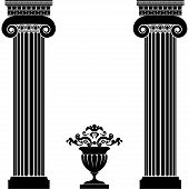 image of greek-architecture  - Classical greek or roman columns and vase isolated on white background - JPG