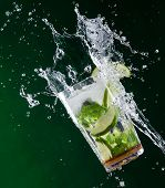 picture of liquids  - fresh mojito drink with liquid splash - JPG