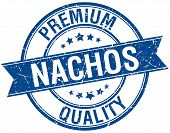 foto of nachos  - nachos grunge retro blue isolated ribbon stamp - JPG