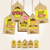 picture of eid mubarak  - Stylish Sale tags decorated with Mosque for Muslim community festival - JPG