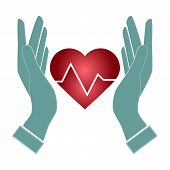 foto of heartbeat  - hand hold heart of Heartbeat electrocardiograph icon vector - JPG