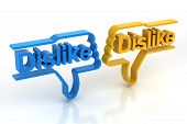stock photo of dislike  - Pair of thumbs down signs with dislike connected to computer mouse - JPG