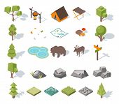 picture of tent  - Isometric 3d forest camping elements for landscape design - JPG