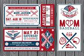 stock photo of softball  - Set of vintage baseball labels and badges - JPG