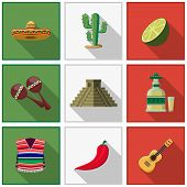 stock photo of mexican fiesta  - Mexico icons set - JPG