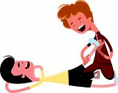 stock photo of lap  - Investigation agent typing at lap top vector illustration cartoon character - JPG