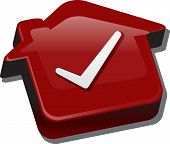 Постер, плакат: Illustration concept clipart of home with approval checkmark OK passed house