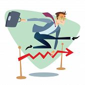 picture of competition  - Businessman running and jumping over barriers schedule of sales - JPG
