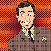 Постер, плакат: Happy Man Smiling Businessman Entertainer Artist Pop Art Comics