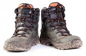 stock photo of dirty  - Pair of Dirty Boots Isolated on white background - JPG