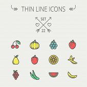 stock photo of peas  - Food and drink thin line icon set for web and mobile - JPG