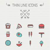 picture of italian food  - Food  thin line icon set for web and mobile - JPG