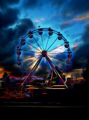 pic of carnival ride  - ferris wheel at night at a carnival - JPG