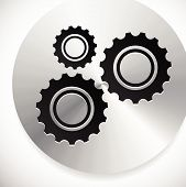 stock photo of rework  - Gears cogwheels icon graphics for maintenance repair manufacturing and development concepts - JPG