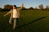 foto of shotokan  - shotokan karate training in the park in the afternoon - JPG