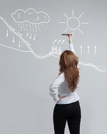 foto of transpiration  - Young woman drawing schematic representation of the water cycle in nature - JPG