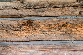 stock photo of smut  - Old wooden plank wall brown board texture - JPG