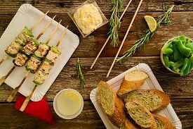 image of souvlaki  - Concept of barbecue picnic food - JPG