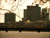 Downtown Boston With State Capital On Autumn Day poster