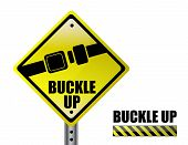 foto of seatbelt  - detail metal buckle up street sign isolated over a white background - JPG