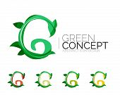 Set of abstract eco plant icons, business logotype nature green concepts, clean modern geometric des poster