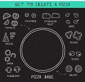 Постер, плакат: Template doodle set ingredients of chalk to create pizza