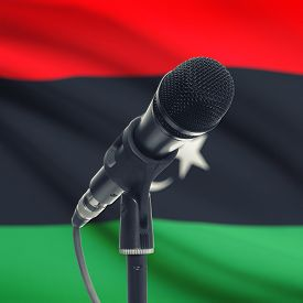 image of libya  - Microphone with national flag on background series  - JPG