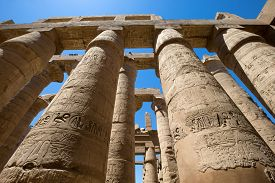 foto of hieroglyphic  - Close up of columns covered in hieroglyphics - JPG