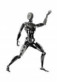 stock photo of cyborg  - 3D digital render of a male cyborg isolated on white background - JPG