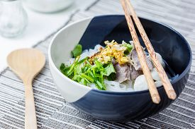foto of noodles  - Asian style beef noodles in soup Beef noodle with meatballs - JPG