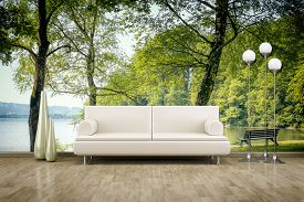 stock photo of mural  - 3D rendering of a sofa in front of a photo wall mural  - JPG