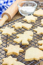 image of shortbread  - Fresh baked homemade shortbread cookies on a cooling rack - JPG