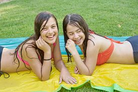 stock photo of  friends forever  - Two pretty 14 year old best friends  - JPG