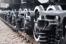 stock photo of train-wheel  - Close up view of a train wheels - JPG