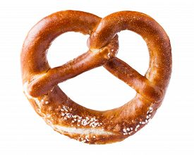 foto of pretzels  - a brown pretzel on a white background - JPG