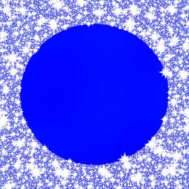 stock photo of monochromatic  - Decorative frozen circular frame on blue monochromatic background - JPG