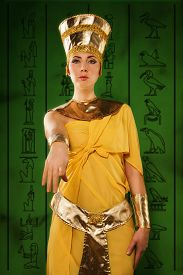 stock photo of cleopatra  - Portrait of beautiful egyptian woman stylized into Cleopatra - JPG