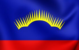 stock photo of murmansk  - 3D Flag of Murmansk Oblast Russia - JPG