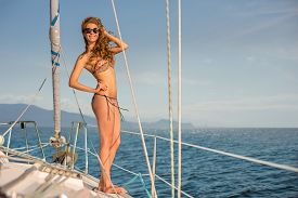 picture of yacht  - Girl resting on the yacht - JPG